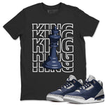 Air Jordan 3 Retro Midnight Navy Sneaker Crew Neck Unisex T Shirt Matching Outfits AJ3 Georgetown King Short Sleeve Tees 3s Cement Grey White Image Black S