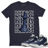 Air Jordan 3 Retro Midnight Navy Sneaker Crew Neck Unisex T Shirt Matching Outfits AJ3 Georgetown King Short Sleeve Tees 3s Cement Grey White Image Navy S