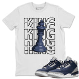 Air Jordan 3 Retro Midnight Navy Sneaker Crew Neck Unisex T Shirt Matching Outfits AJ3 Georgetown King Short Sleeve Tees 3s Cement Grey White Image White S