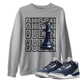 Queen Unisex Sweatshirt - Air Jordan 3 Retro Midnight Navy Cement Grey White Sneaker Matching Outfits Georgetown 3s Long Sleeve Heather Grey AJ3 Pullover S