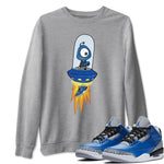 Air Jordan 3 Varsity Royal Blue Cement Sneaker Shirts Alien Heather Grey Long Sleeve Sweatshirt Outfits S