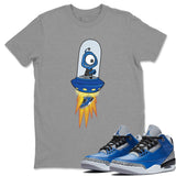 Air Jordan 3 Varsity Royal Blue Cement Sneaker T Shirt Outfits Alien Heather Grey Tees Image S