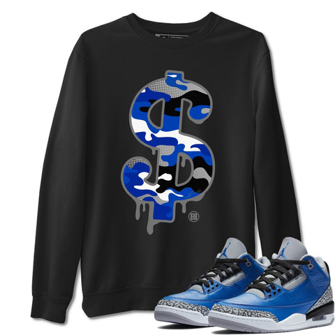 Air Jordan 3 Varsity Royal Blue Grey Cement Sneaker Long Sleeve Sweatshirts Outfits Dollar Camo Black Pullover S