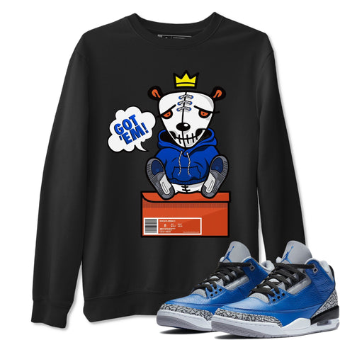 Air Jordan 3 Varsity Royal And Blue Cement Sneaker Crew Neck Graphic Tee Got Em Black Long Sleeve Pullover Sweatshirts S
