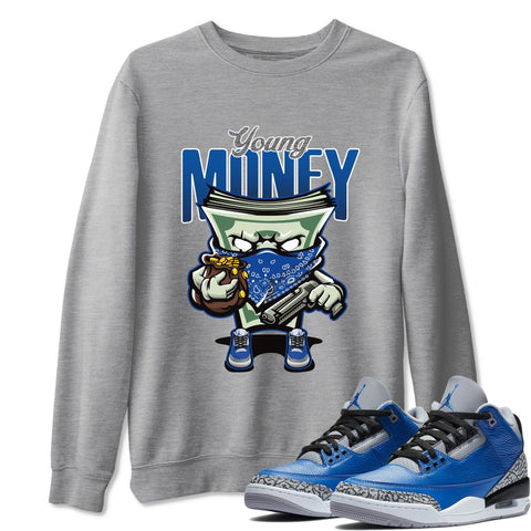 Air Jordan 3 Varsity Royal And Blue Grey Cement Sneaker Crew Neck Pullover Young Money Heather Grey Sweatshirt S
