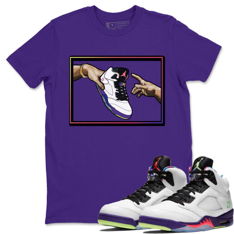 Adam's Creation T-Shirt - Air Jordan Ghost Green Air Jordan 5 Shirt Jordan 5 Ghost Green Purple S