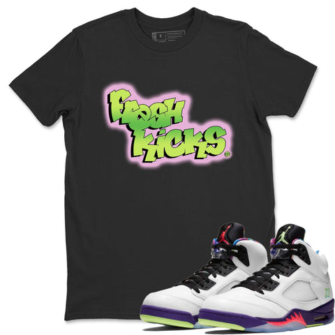 Air Jordan 5 Alternate Bel-Air Ghost Green Sneaker Matching Outfit Fresh Kicks Black Shirt Image