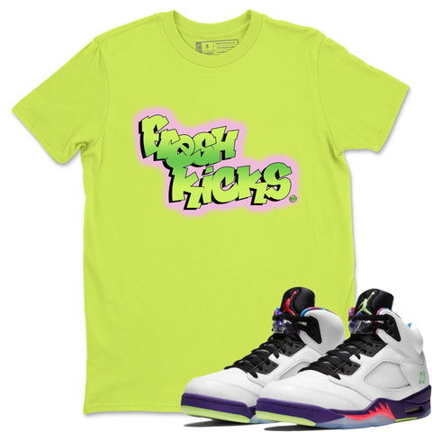 Air Jordan 5 Alternate Bel-Air Ghost Green Sneaker Matching Outfit Fresh Kicks Safety Green Shirt Image