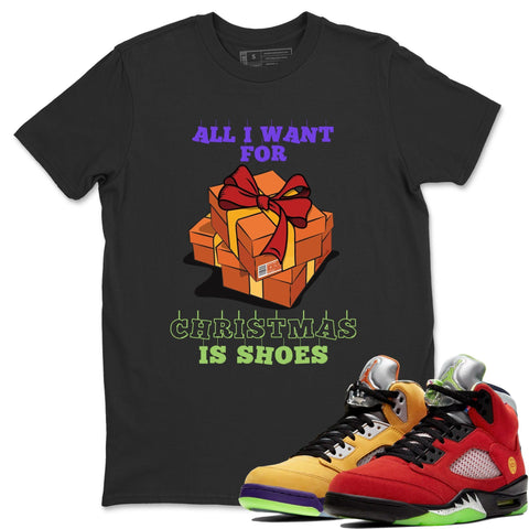 Air Jordan 5 Retro What The Red Yellow Sneaker Tees And Sneaker Matching Outfits Christmas Present Black Crew Neck T Shirt Image