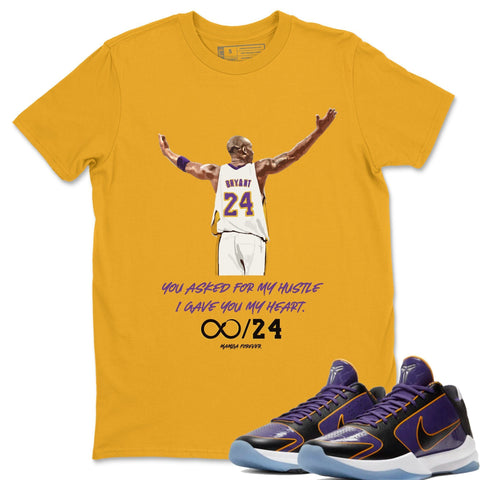 Nike 5 Protro Champ Lakers Sneaker Match Tee Mamba Forever Gold Shirt