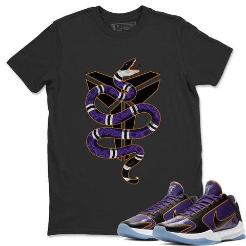 Nike Kobe 5 Protro Mamba Week Lakers 5X Champ Sneaker Matching Outfit and Tees Snake Black Shirt Image