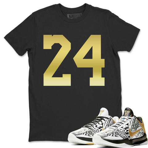 Nike Kobe 5 Protro Mamba Week Big Stage Sneaker Matching Outfit and Tees Metallic 24 Black Shirt Image