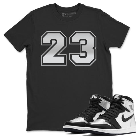Air Jordan 1  High OG WMNS Silver Toe Number 23 Crew Neck T-Shirt Matching Unisex Outfits AJ1 Women's Silver Toe Image Black Short Sleeve Tees