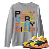 Adidas Yeezy 700 V1 Sun Sneaker Unisex Long Sleeve Crew Neck Sweatshirt And Sneaker Matching Outfits Sun Black Orange Yeezy 700 V1 Play Hard Stay Wild Heather Grey Pullover Image