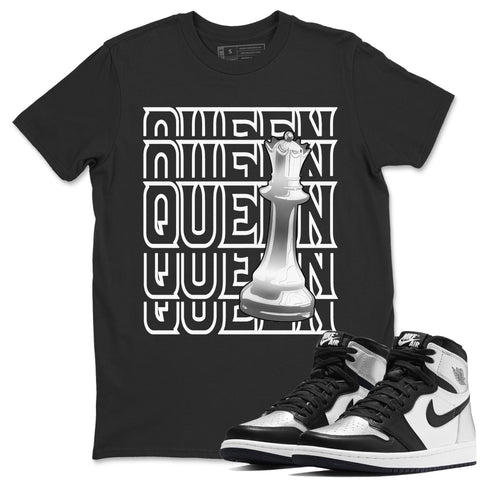 Air Jordan 1 High OG WMNS Silver Toe Queen Crew Neck T-Shirt Matching Unisex Outfits 1s Women's Silver Toe Image Black Short Sleeve Tees