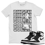 Air Jordan 1 High OG WMNS Silver Toe Queen Crew Neck T-Shirt Matching Unisex Outfits 1s Women's Silver Toe Image White Short Sleeve Tees