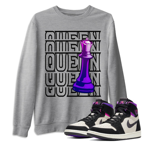 Air Jordan 1 Zoom Comfort Psg Saint Germain Queen Crew Neck Pullover Matching Unisex Outfits AJ1 Zoom Cmft Psg Image Heather Grey Long Sleeve Sweaters