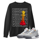 Air Jordan 3 Retro Cool Grey Queen Crew Neck Sweatshirt Matching Unisex Outfits 3s Cool Grey Image Black Long Sleeve Sweaters