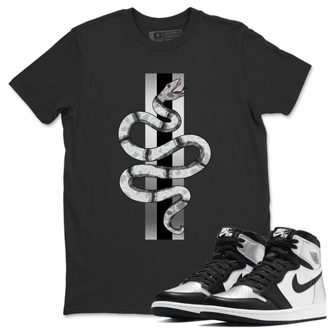 Air Jordan 1  High OG WMNS Silver Toe Snake Short Sleeve T-Shirt Matching Unisex Outfits AJ1 Women's Silver Toe Image Black Short Sleeve Tees