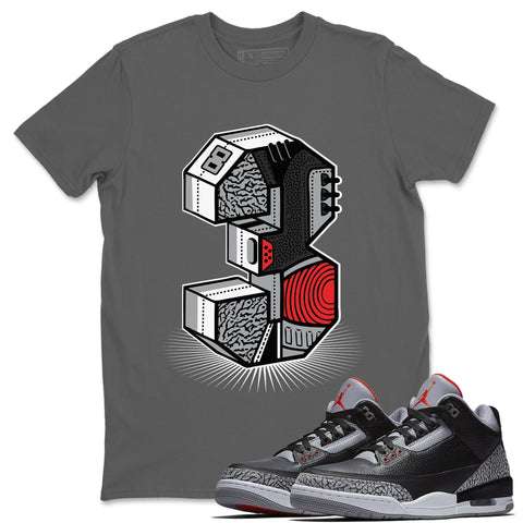Three Statue Cool Grey T-Shirt - Air Jordan 3 Black Cement Air Jordan 3 Shirt Jordan 3 Black Cement