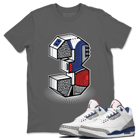 Three Statue Cool Grey T-Shirt - Air Jordan 3 True Blue Air Jordan 3 Shirt Jordan 3 True Blue