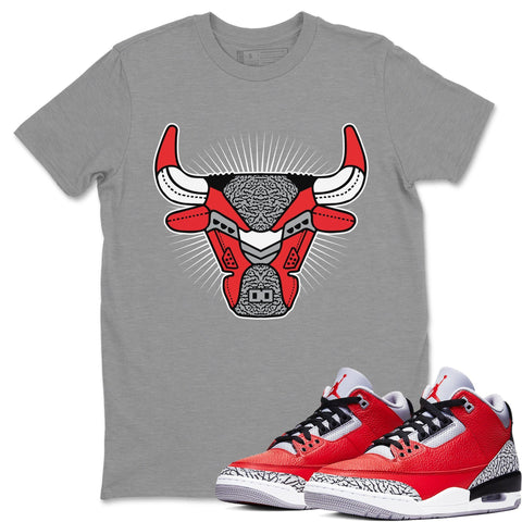 Bull Head Heather Grey T-Shirt - Air Jordan 3 Unite Air Jordan 3 Shirt Jordan 3 Unite
