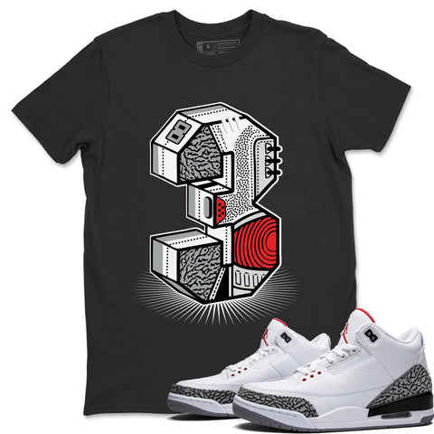 Three Statue Black T-Shirt - Air Jordan 3 White Cement Air Jordan 3 Shirt Jordan 3 White Cement