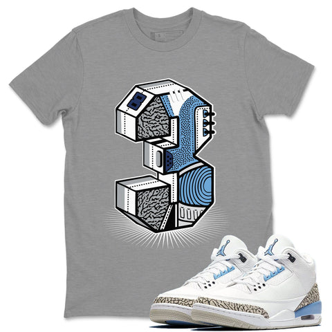 "Three Statue Heather Grey T-Shirt - Air Jordan 3 Valor Blue ""UNC Air Jordan 3 Shirt Jordan 3 Valor Blue"