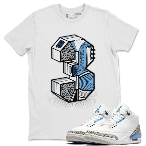 "Three Statue White T-Shirt - Air Jordan 3 Valor Blue ""UNC"" Air Jordan 3 Shirt Jordan 3 Valor Blue"