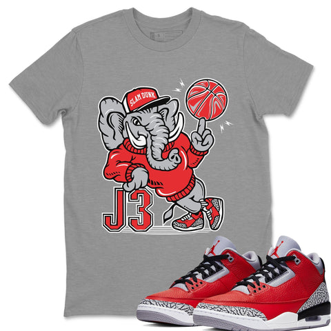 AJ3 Elephant Heather Grey T-Shirt - Air Jordan 3 Unite Air Jordan 3 Shirt Jordan 3 Unite