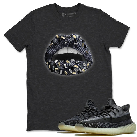 Adidas Yeezy 350 V2 Carbon Asriel Sneaker Shirts And Sneaker Matching Outfits Lips Jewel Charcoal Heather T Shirt Image