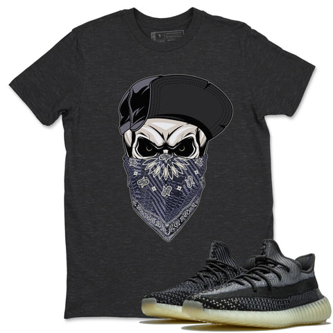 Adidas Yeezy 350 V2 Carbon Asriel Sneaker Shirts And Sneaker Matching Outfits Skull Hat Charcoal Heather T Shirt Image