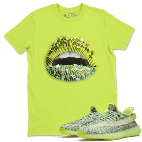 Lips Jewel T-Shirt - Yeezy Boost 350 V2 Yeezreel Yeezy Boost 350 Shirt Yeezy Boost 350 V2 Yeezreel Safety Green S