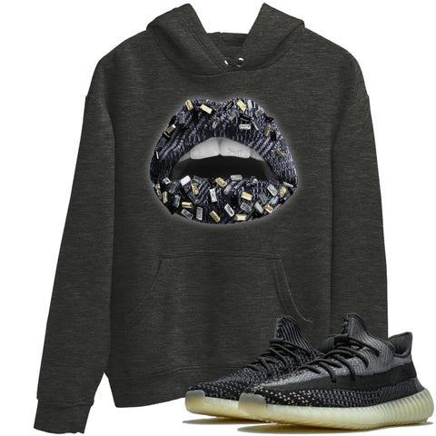 Adidas Yeezy 350 V2 Carbon Asriel Sneaker Shirts And Sneaker Matching Outfits Lips Jewel Charcoal heather Hoodie Image