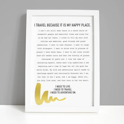 Travel Print - Travel is My Happy Place - UrbanUndercover
