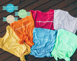 brain fog organic unisex tee - green, blue, berry, yellow, orange + lilac