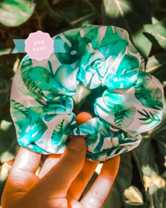 monstera luxe organic scrunchie - green
