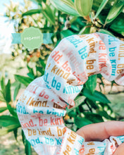 Load image into Gallery viewer, be kind luxe organic scrunchie - white/rainbow