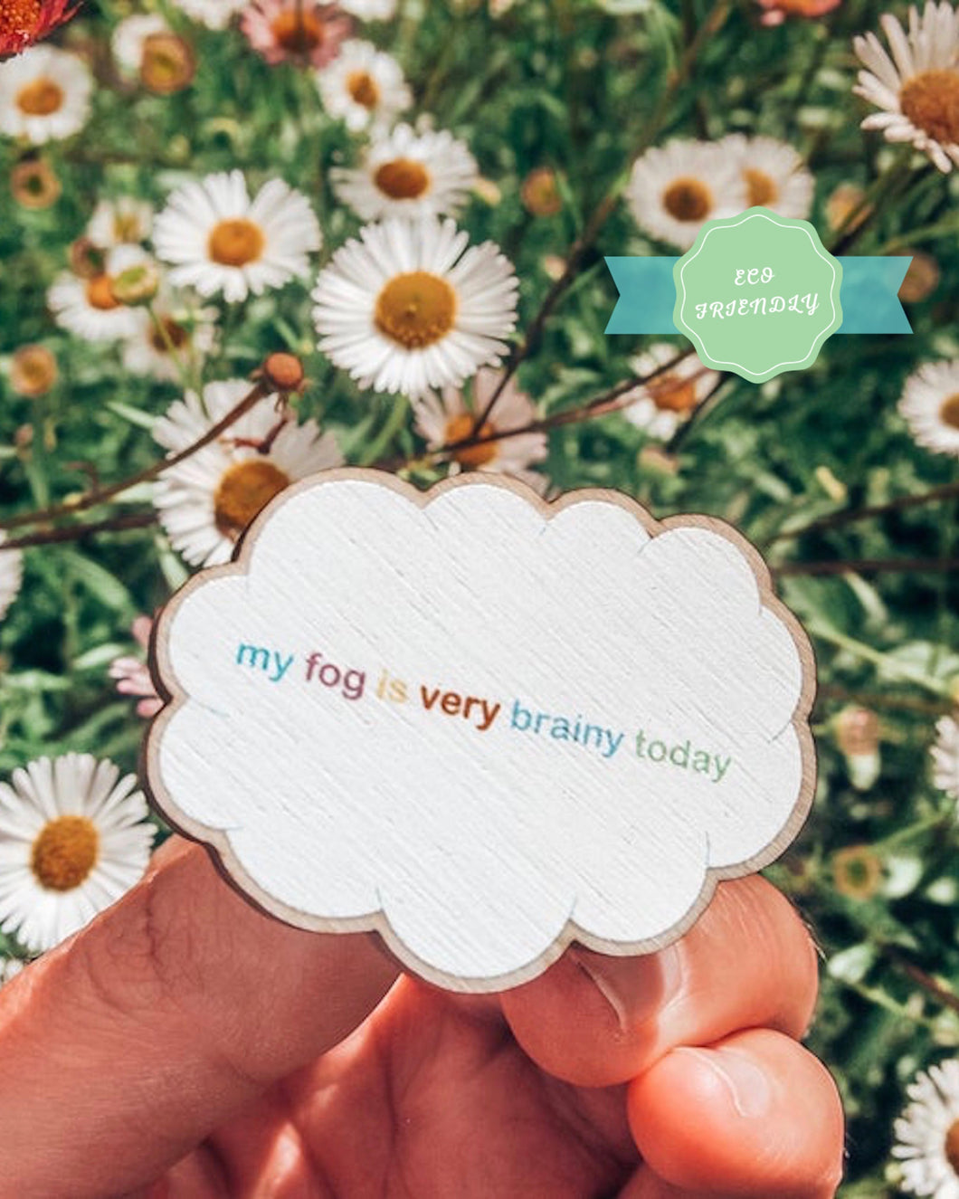 brain fog eco friendly wooden pin