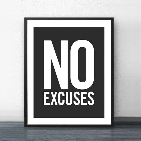 """No Excuses"" Inspirational Canvas"
