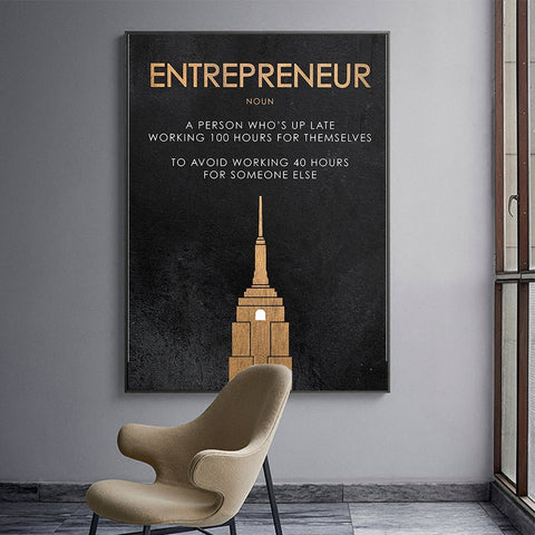 Entrepreneur Definition - Motivational Canvas Wall Art