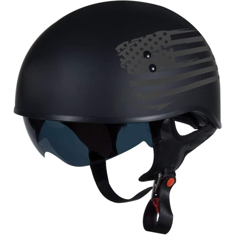 TORC T55 Spec-Op Half Helmet with Flag Graphic Flat Black  X-Large