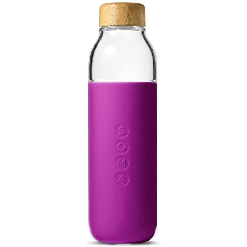Soma 17 oz. BPA-free Wide Mouth Glass Water Bottle with Silicone Sleeve, Eggplant