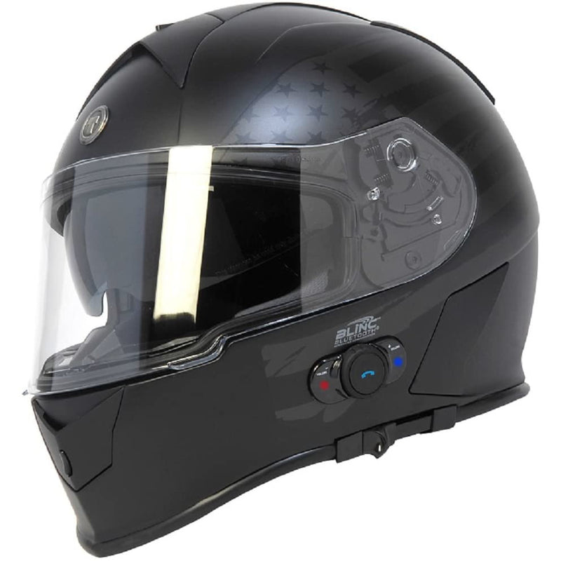 Torc T14B Bluetooth Integrated Mako Full Face Helmet with Flag Graphic (Flat Black, Medium)