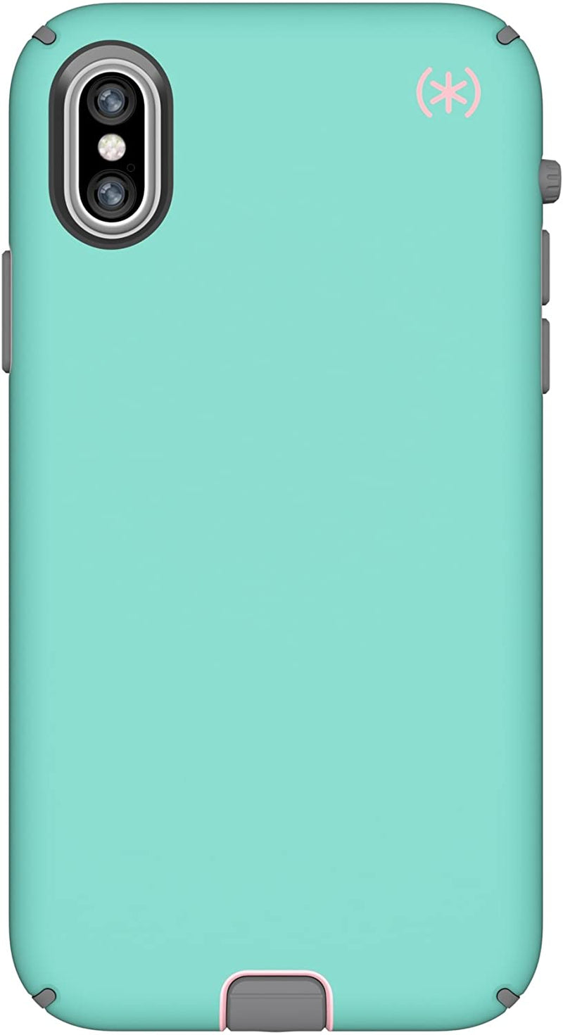 Speck Presidio Sport Case for iPhone Xs/X, Wave Teal/Tart Pink/Gunmetal Grey