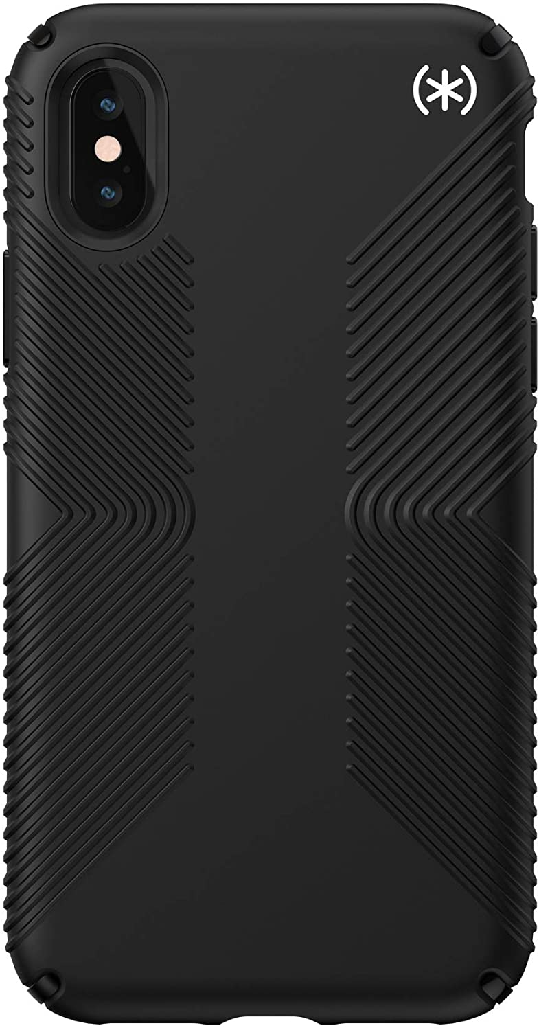 Speck Presidio2 Grip Case, Compatible with iPhone Xs/iPhone X, Black/Black/Black/White