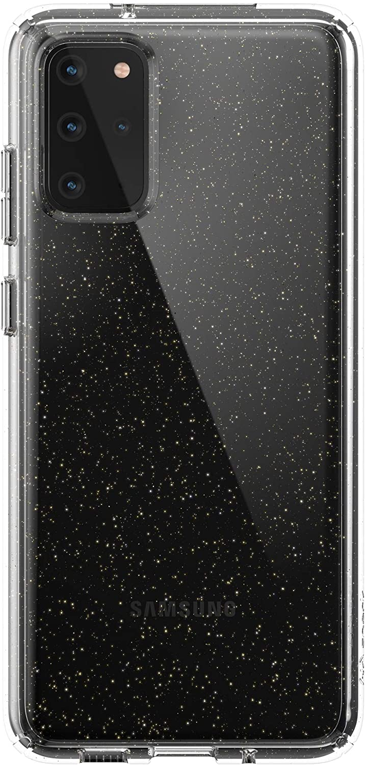 Speck Presidio Perfect-Clear Glitter Samsung Galaxy S20+ Case - Clear with Gold Glitter/Clear