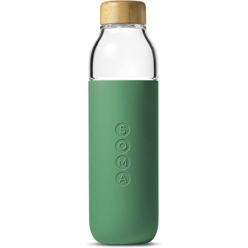 Soma Glass Water Bottle with Silicone Sleeve and Bamboo twist cap