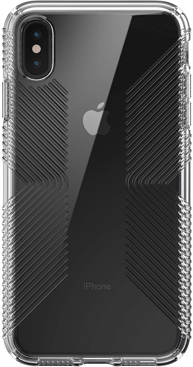 Speck Presidio Perfect-Clear with Grip Case - Compatible with iPhone Xs Max, Clear/Clear