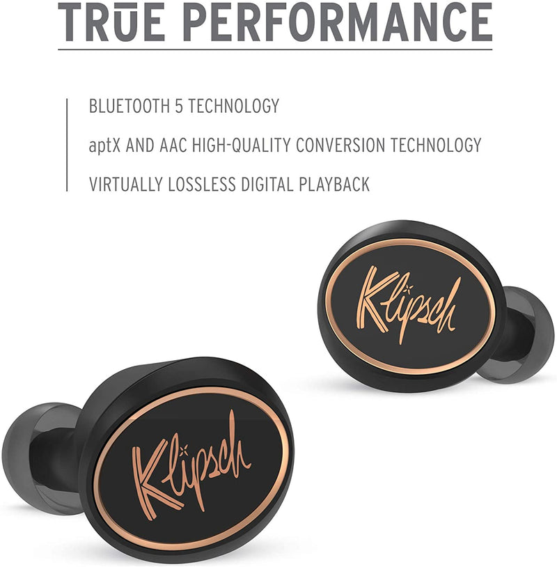 Klipsch T5 True Wireless Earbuds with Built-In Remote and Microphone (Black/Silver)
